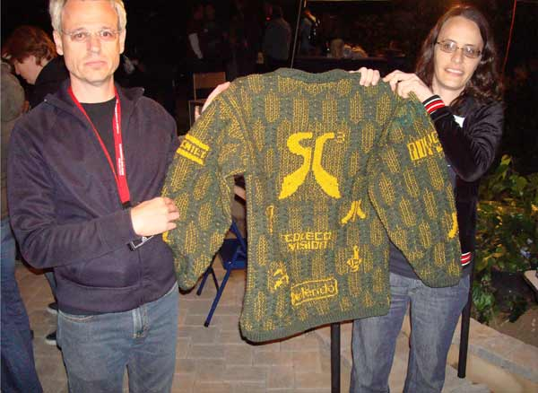 A super-awesome custom SC3 sweater, lovingly crafted by hand!  Thanks De!!