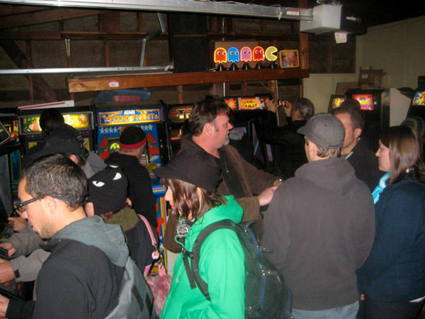 The garage arcade was the hottest place at the party, literally.  Guests crowded in all night to get out of the cold