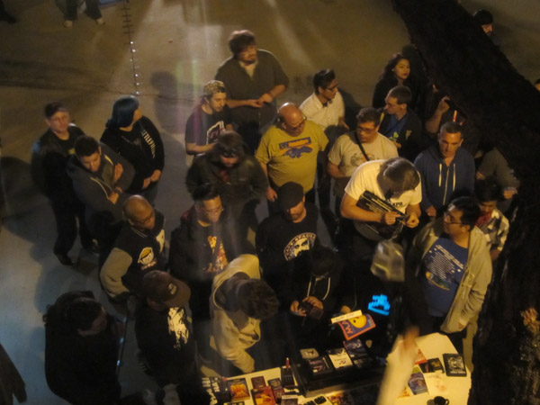 Overhead shot of the raffle, taken from a window in the upstairs console room