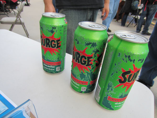 Vintage games are normal at SC3, but vintage soda?  One kind attendee brought a bunch of the Surge reissue
