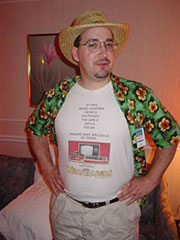 Tim Snider wears his TRS-80 pride.